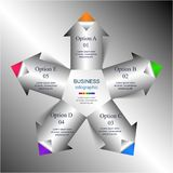 Vector arrows infographic. Template for diagram, graph, presentation and chart with 5 options, parts, steps or processes stock illustration