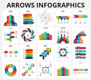 Vector arrows infographics elements set. Royalty Free Stock Photo