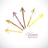 Vector Arrows Pastel. Vector colorful arrows. Vector design elements. Artistic arrow. Grunge abstract. Set color arrows Stock Illustration