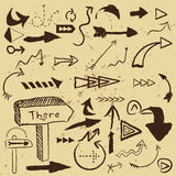 Vector arrows set. Painted signs Stock Image