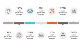 Vector arrows timeline infographic. Business progress concept with 7 options, parts. Circle arrows diagram for graph infographic presentation with steps parts Royalty Free Stock Image