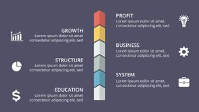 Vector arrows timeline infographic, diagram chart, graph presentation. Circle arrows diagram for graph infographic presentation with steps parts options Stock Image