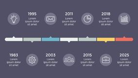 Vector arrows timeline infographic, diagram chart, graph presentation. Circle arrows diagram for graph infographic presentation with steps parts options Royalty Free Stock Photo