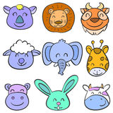 Vector art animal head colorful doodles Royalty Free Stock Photography