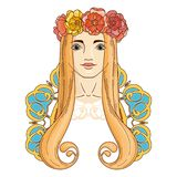 Art in Art Nouveau style with beauty girl in wreath. Royalty Free Stock Images
