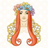Art in Art Nouveau style with beauty girl in wreath. Stock Photography