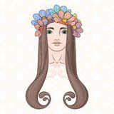 Art in Art Nouveau style with beauty girl in wreath. Royalty Free Stock Image