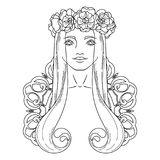 Art in Art Nouveau style with beauty girl in wreath. Royalty Free Stock Photos