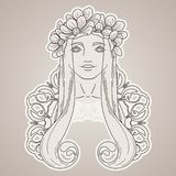 Art in Art Nouveau style with beauty girl in wreath. Stock Images