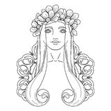 Art in Art Nouveau style with beauty girl in wreath. Stock Image