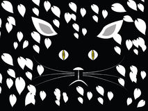 Cat in jungle at night. Vector Art cat face in white on black with white leaves surrounding cat Stock Photos
