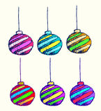 Vector art of Christmas ball for greeting card and invite Royalty Free Stock Photos