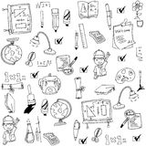 Vector art collection school doodles. On white backgrounds Stock Image