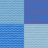 Vector art collection of simple seamless backgrounds. With hand-drawn waves on a blue background. For design greeting cards, textiles, ornaments in a nautical Stock Image