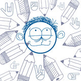 Vector art colorful drawing of happy person, education Royalty Free Stock Photo