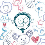 Vector art colorful drawing of surprised person, education and s Royalty Free Stock Photography