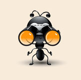 Vector art of cute Ant cartoon with binocular Royalty Free Stock Photo