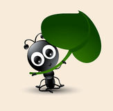 Vector art of cute ant cartoon with green leaf Royalty Free Stock Images