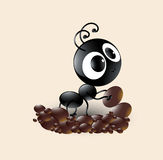 Vector art of cute black ant cartoon making house Royalty Free Stock Image