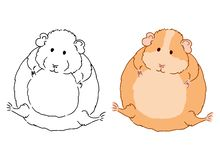Vector art of cute little fat guinea pig on white background. Colorful illustration of small domestic cavy good for coloring pages vector illustration