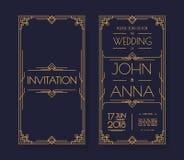 Vector art deco and arabic vintage wedding invitation template set stock illustration