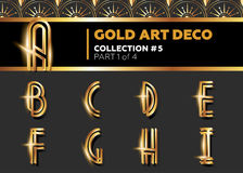 Vector Art Deco 3D Font. Shining Gold Retro Alphabet. Gatsby Sty