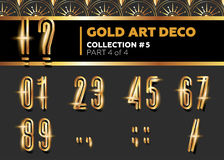 Vector Art Deco 3D Font. Shining Gold Retro Alphabet. Gatsby Sty Royalty Free Stock Images