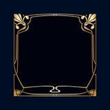 Vector art deco frame. Vector art deco golden frame with space for text Stock Photos