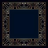 Vector art deco frame. Vector art deco golden frame with space for text Stock Photo