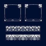Vector art deco frames and two pattern. Royalty Free Stock Photography