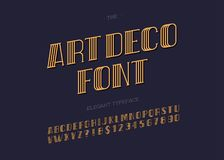 Vector art deco typeface. Retro font for party poster, printing on fabric, t shirt, promotion, decoration, stamp, label. Cool bold modern alphabet vintage Royalty Free Stock Photography