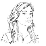 Vector art drawing, portrait of gorgeous dreamy girl isolated on Royalty Free Stock Images
