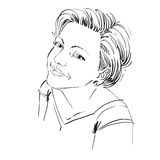 Vector art drawing, portrait of gorgeous happy girl isolated on. White. Facial expressions, people positive emotions Stock Photo