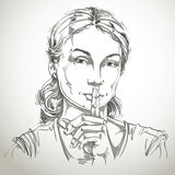 Vector art drawing, portrait of peaceful girl making a hush sign Stock Photography