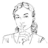 Vector art drawing, portrait of peaceful girl making a hush sign Royalty Free Stock Image