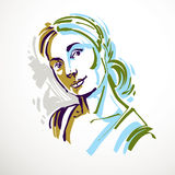 Vector art drawing, portrait of romantic girl  on white, Royalty Free Stock Image