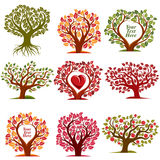 Vector art drawn trees with beautiful blossom and red heart. Har Stock Photos
