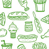 Vector art of fast food doodles Royalty Free Stock Images