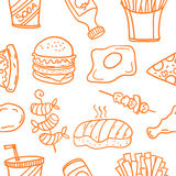 Vector art of food style doodles. Collection Royalty Free Stock Images