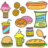 Vector art of food various doodles Royalty Free Stock Photo
