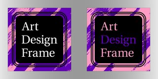 Vector Art frame, Art graphics in purple-pink colors. Black template of frame with color brush, element for design poster, banner, business card, invitation Stock Photography
