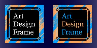 Vector Art frame, Art graphics in blue-orange colors. Black template of frame with color brush, element for design poster, banner, business card, invitation Royalty Free Stock Photos