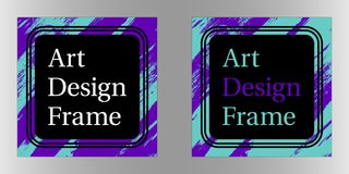 Vector Art frame, Art graphics in purple-turquoise colors. Black template of frame with color brush, element for design poster, banner, business card Stock Image