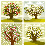 Vector art green fruity trees with swing on beautiful cloudy spr Royalty Free Stock Photo
