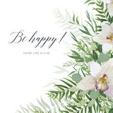 Vector art greeting card, postcard, invite  design with white or. Chid flowers, greenery eucalyptus branches, tropical forest palm green leaves frame. Elegant Stock Photos