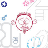 Vector art hand drawn illustration of angry personality Royalty Free Stock Photo