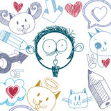 Vector art hand drawn illustration of personality, emotions on t Stock Images