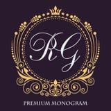 Vector art Het originele monogram Gouden decoratief kader Elegante lijnen van kalligrafisch ornament Heraldische symbolen stock illustratie