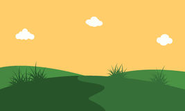 Vector art of hill with orang sky landscape. Backgrounds Stock Photo