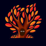 Vector art illustration of branchy tree with den. Two eyes Stock Images